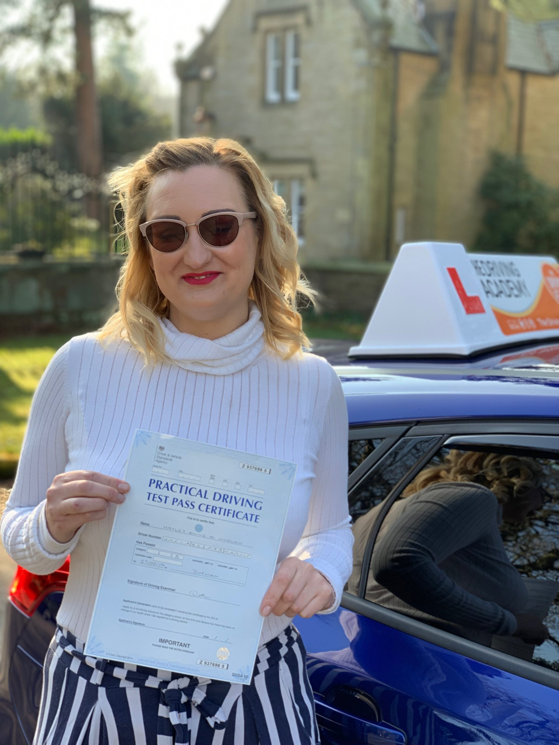 Hayley Whelan passing her test first time in Durham