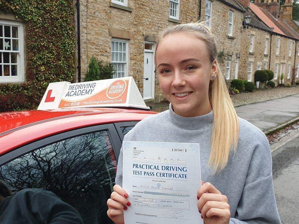 Millie Tinkler passing her driving test in Durham